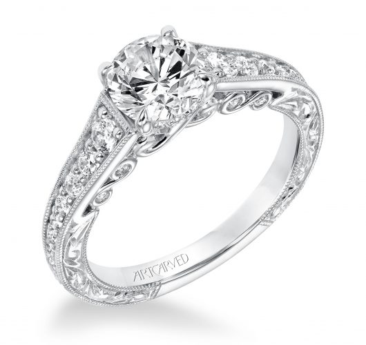 White gold engagment ring with filigree design & etching