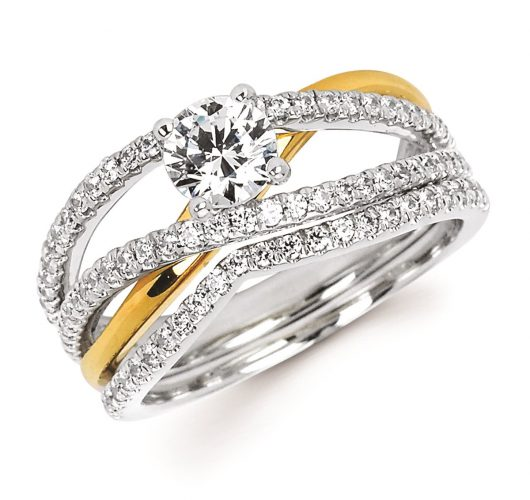 White & Yellow gold engagement ring with criss-cross design