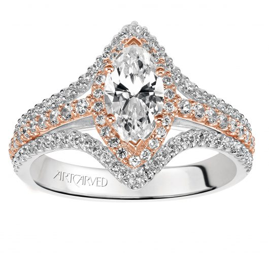 White & rose gold Marquise diamond pave engagement ring