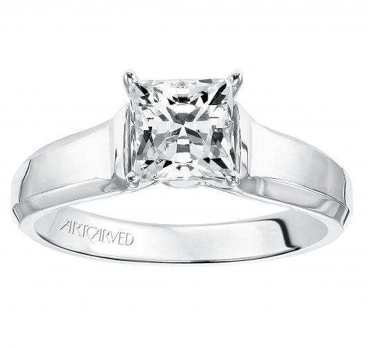 White gold princess cut cathedral solitaire engagement ring