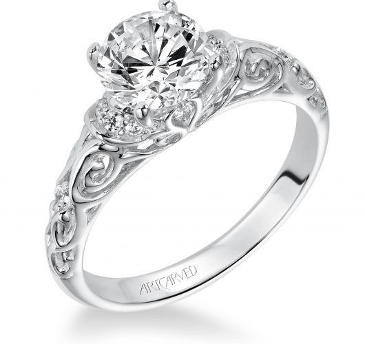 White gold engagement ring with filigree design