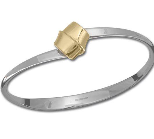 Sterling silver & 14kt yellow gold knot bracelet