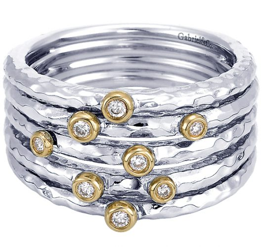 Sterling silver & 14kt yellow gold dia band