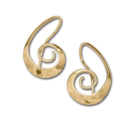 14kt yellow gold swirl earrings