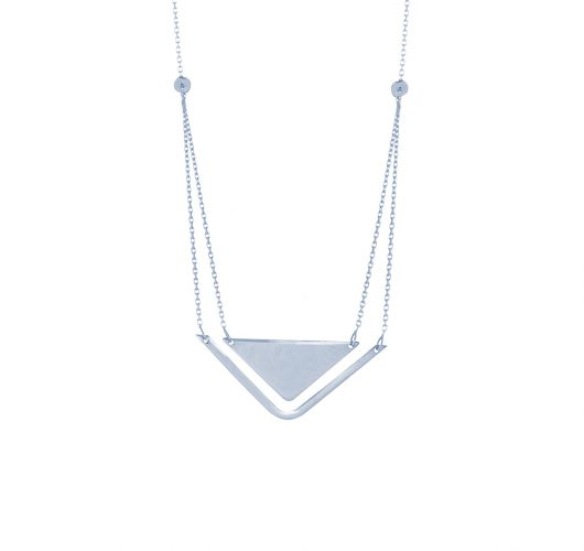 Sterling silver layered triangle necklace