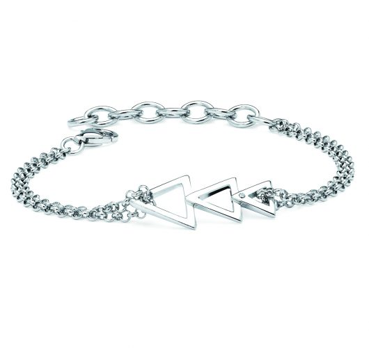 Sterling silver diamond triangle bracelet