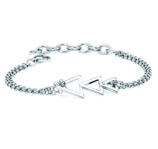 Sterling silver diamond triangle bracelet