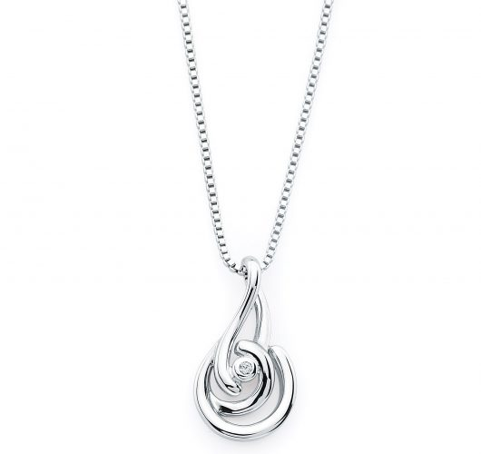 Sterling silver diamond swirl pendant