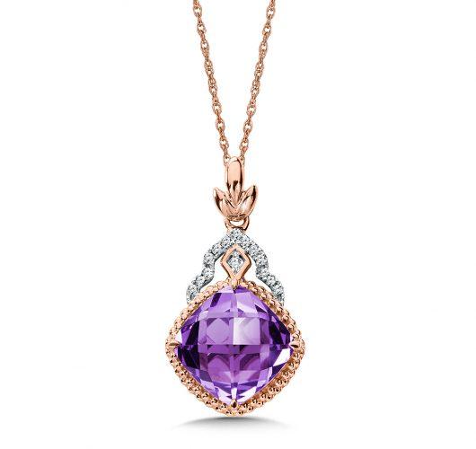 Rose Gold amethyst & diamond pendant