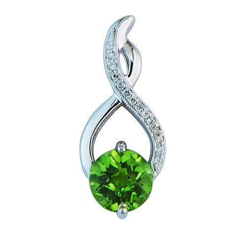 White gold peridot & diamond pendant