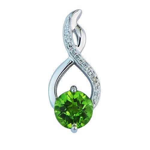 White gold peridot & diamond pendant