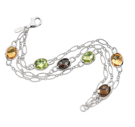 Sterling silver bracelet with smoky quartz, honey citrene & citrene