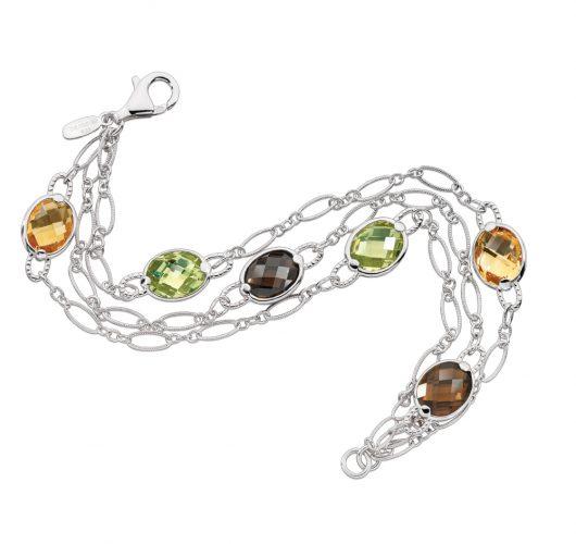 Sterling silver bracelet with smoky quartz, honey citrene & citrene