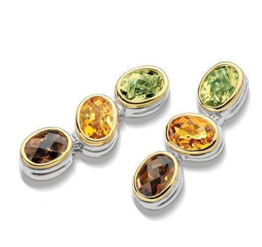 Sterling silver multi colored citrene drop earrings
