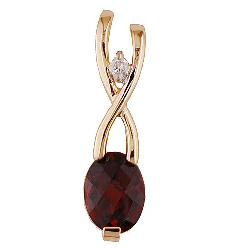 Yellow gold garnet & dia slide