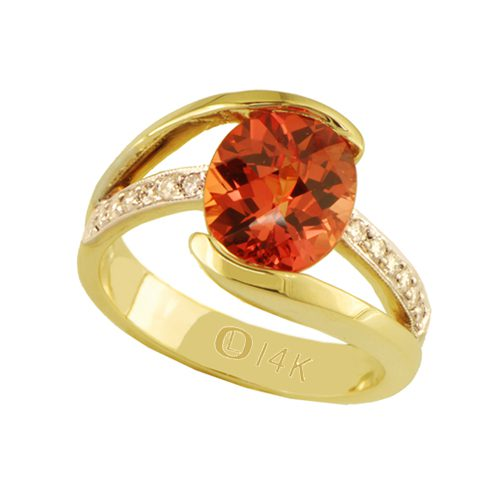 Yellow gold created orange sapphire & diamond ring