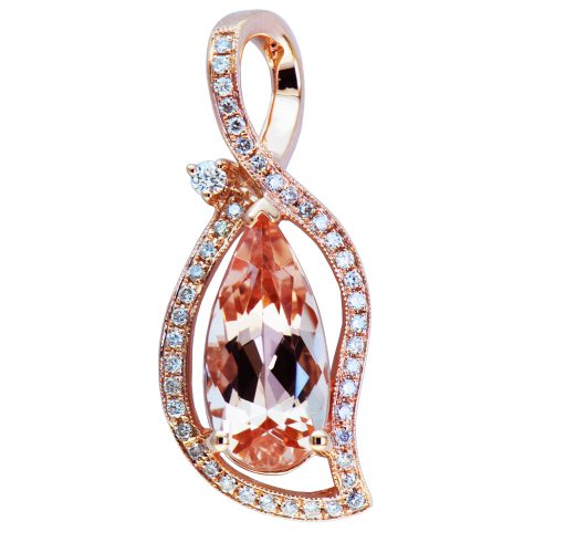 Rose gold morganite & diamond pendant