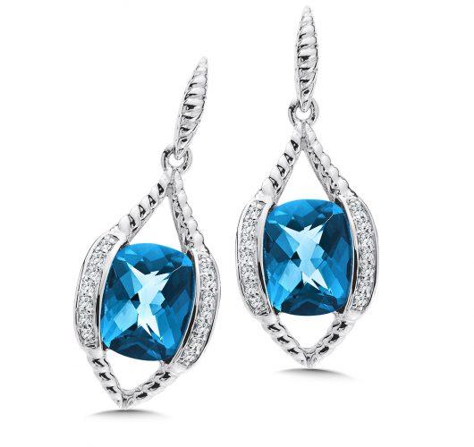 White gold london blue topaz & diamond earrings