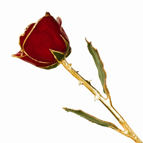 Real Red Rose lacquered & trimmed in 24kt gold