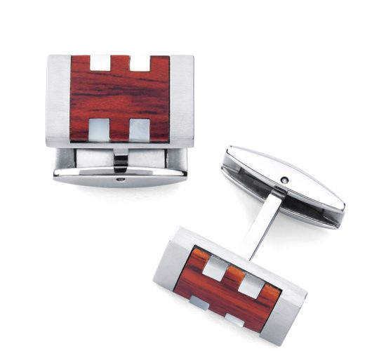 Stainless cuff links with wood inlay