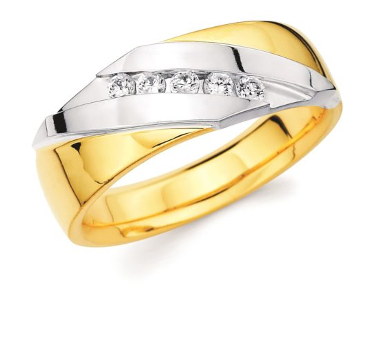 14kt yellow & white gold diamond band