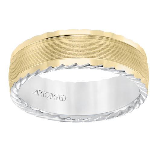 Yellow & White gold carved band