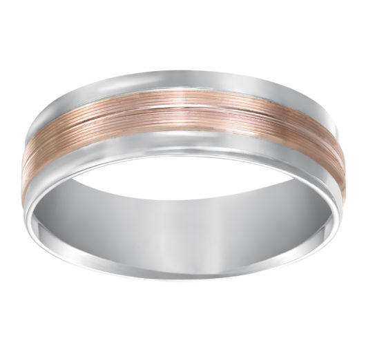 Rose & White gold carved band