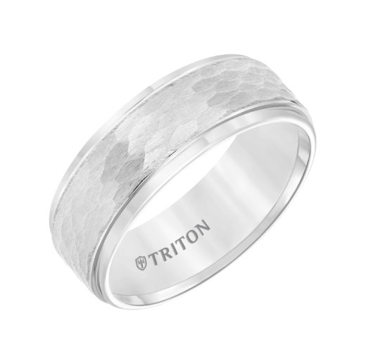 White tungsten band with hammered design