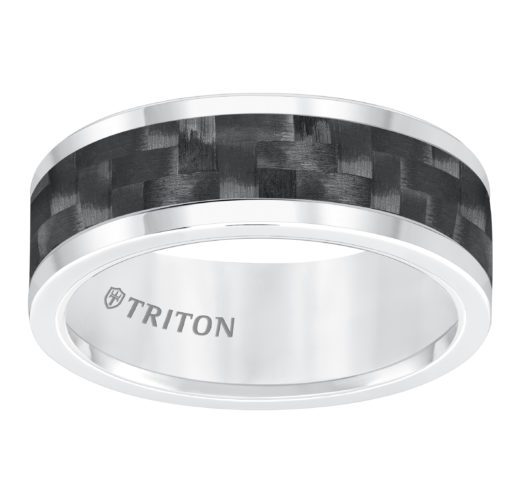 Tungsten band with carbon fiber inlay