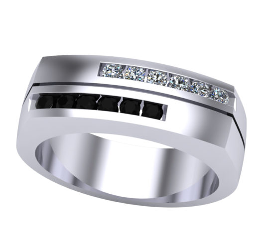 14kt white gold black & white diamond ring