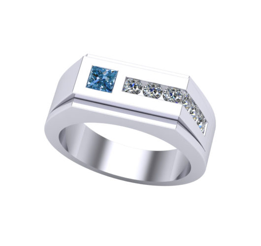 14kt white gold treated blue & white diamond ring