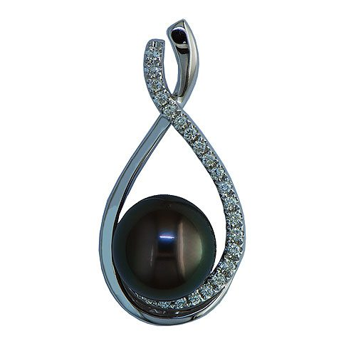 14kt white gold tahitian pearl & diamond slide