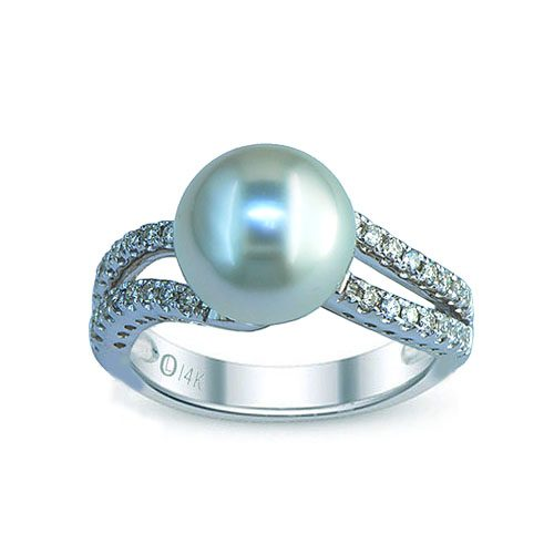 14kt white gold southsea pearl & diamond ring