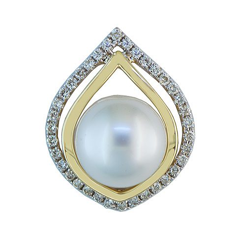 14kt yellow & white gold southsea pearl & diamond slide