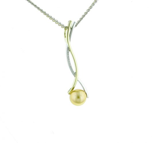 14kt yellow & white gold golden akoya pearl & diamond slide