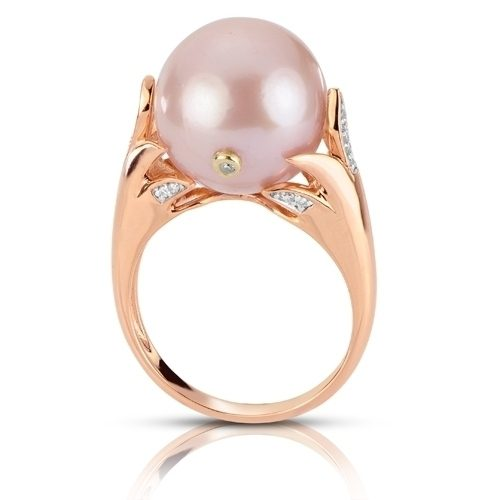 14kt rose gold dyed pink windsor freshwater pearl & diamond ring