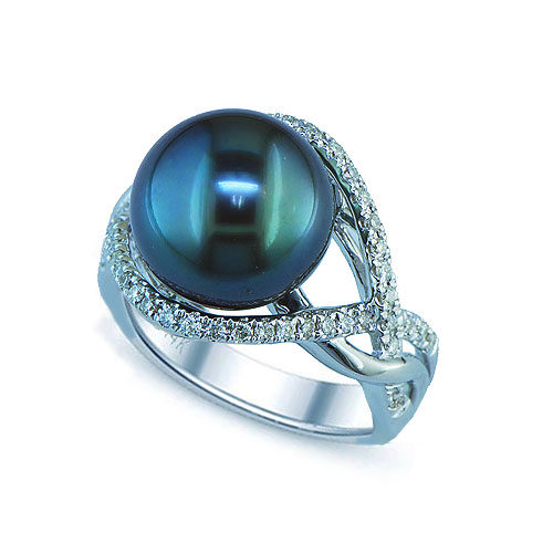 14kt white gold tahitian pearl & diamond ring