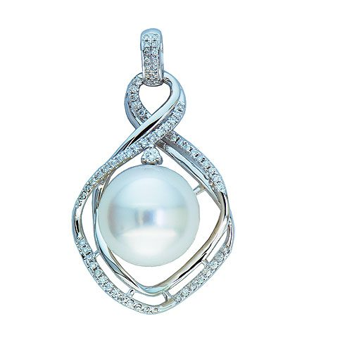 14kt white gold southsea pearl & diamond slide
