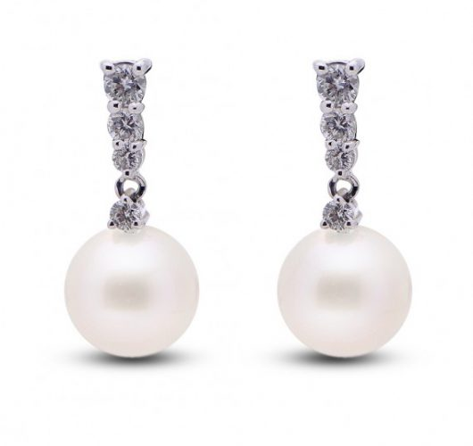 14kt white gold freshwater pearl & diamond drop earrings