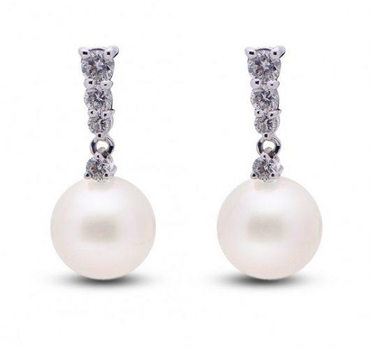 14kt white gold freshwater pearl & diamond drop earrings