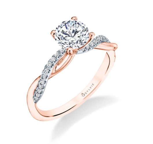 White and rose gold twist engagement ring