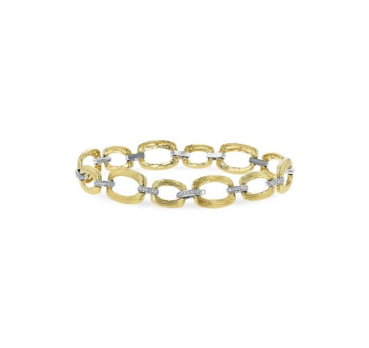 Yellow and white gold textured diamond link bracelet