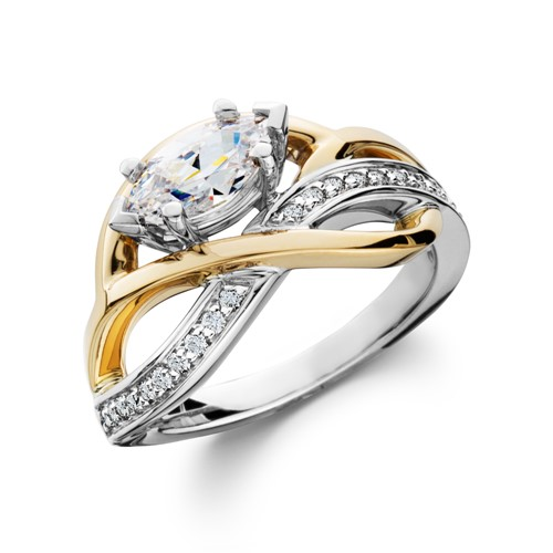 White & Yellow gold swirling marquise engagement ring
