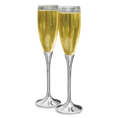 Silver plated toasting glasses with crystals