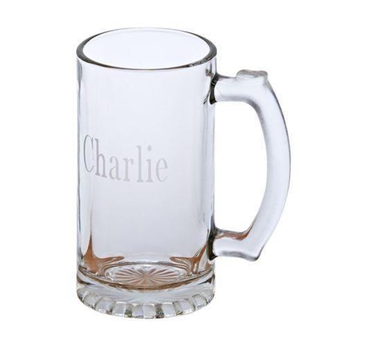 Engravable glass beer mug