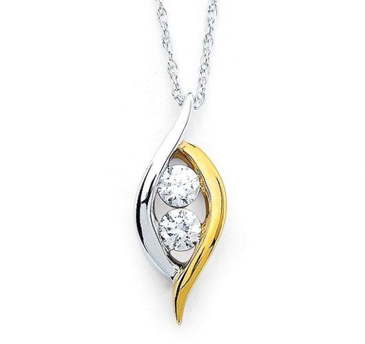 White & yellow gold two diamond pendant