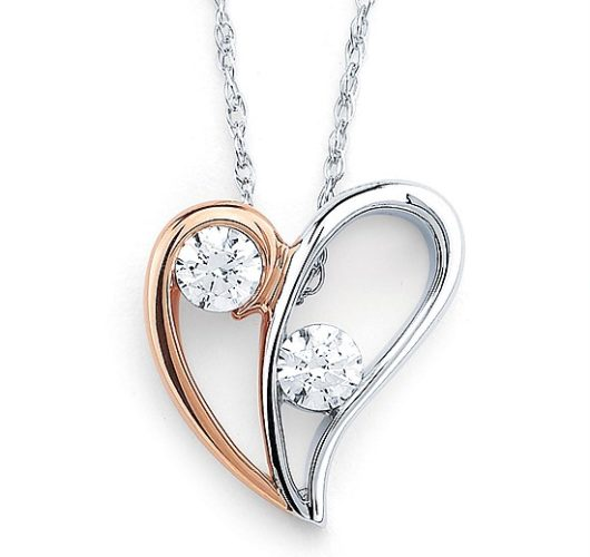 Rose and white gold two diamond heart pendant