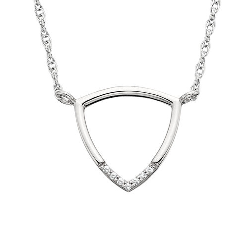 White gold triangle diamond necklace