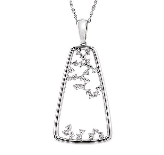 White gold multi diamond pendant