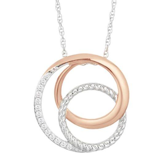 Rose and white gold diamond multi circle pendant